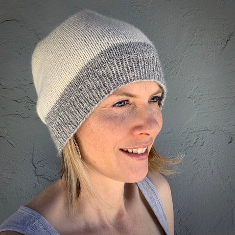 #280 Lux Adorna Cashmere Two-Tone Hat Knitting Kit | Lux Adorna Sport Cashmere & Knitting Pattern