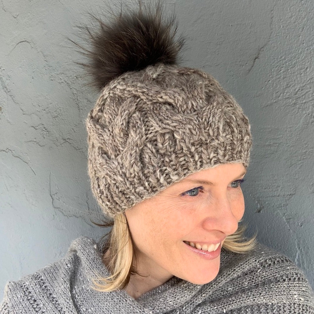 Bulky Cabled Hat Knitting Kit | Manos del Uruguay Wool Clasica & Knitting Pattern (#355)