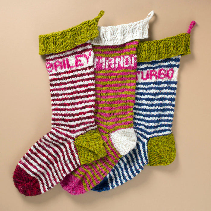 Striped Holiday Stocking Knitting Kit | Manos del Uruguay Wool Clasica & Knitting Pattern (#111)