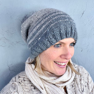 Acadia Striped Hat Knitting Kit | The Fibre Company Acadia & Knitting Pattern (#304)