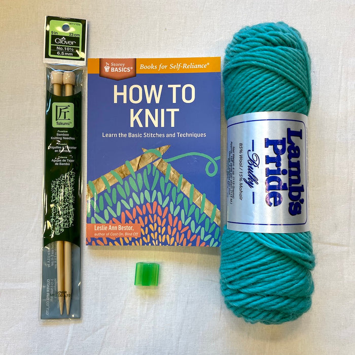 Beginning Knitting Kit (Basic) | Lamb's Pride Bulky & Knitting Instruction Book