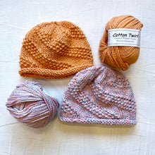 Load image into Gallery viewer, Spiral Seed Stitch Baby Hat Knitting Kit | Crystal Palace Cotton Twirl & Knitting Pattern (#152)