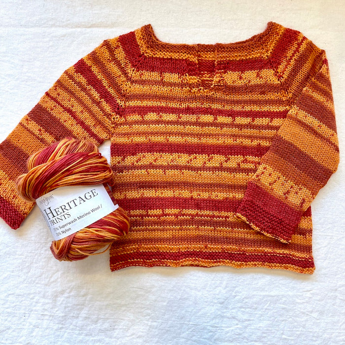 Easiest Baby Sweater Ever (Cascade Heritage version) Knitting Kit | Cascade Heritage Prints & Knitting Pattern (#320D)