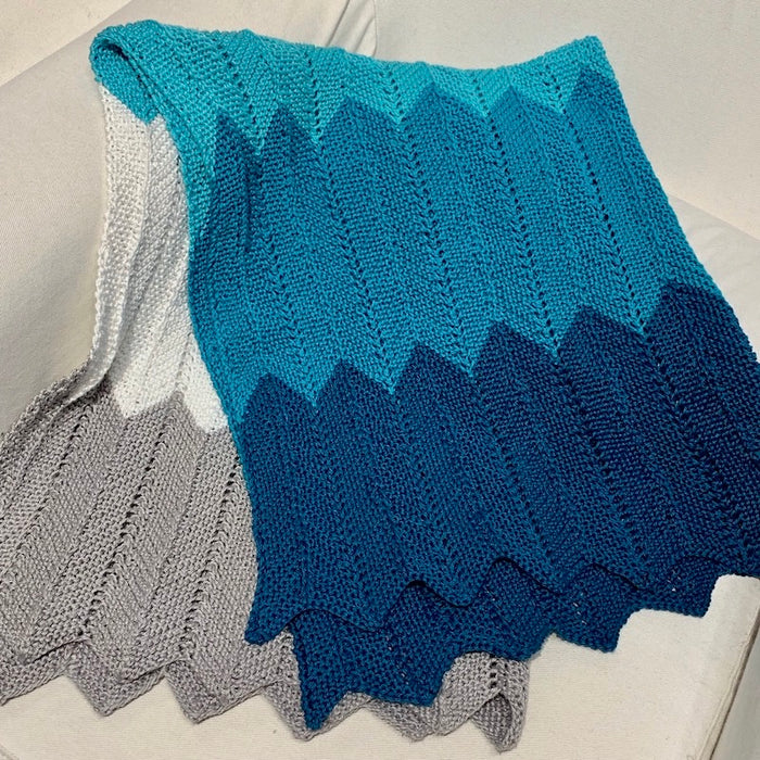 Chevron Baby Blanket (Cascade version) Knitting Kit | Ultra Pima Cotton & Knitting Pattern (#323)