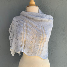 Load image into Gallery viewer, Staggered Fern Shawlette Knitting Kit | Jade Sapphire Sylph & Knitting Pattern (#272)