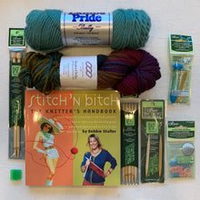 Load image into Gallery viewer, Beginning Knitting Kit (Deluxe) | Lamb's Pride Bulky, Lorna's Laces Shepherd Bulky & Knitting Instruction Book