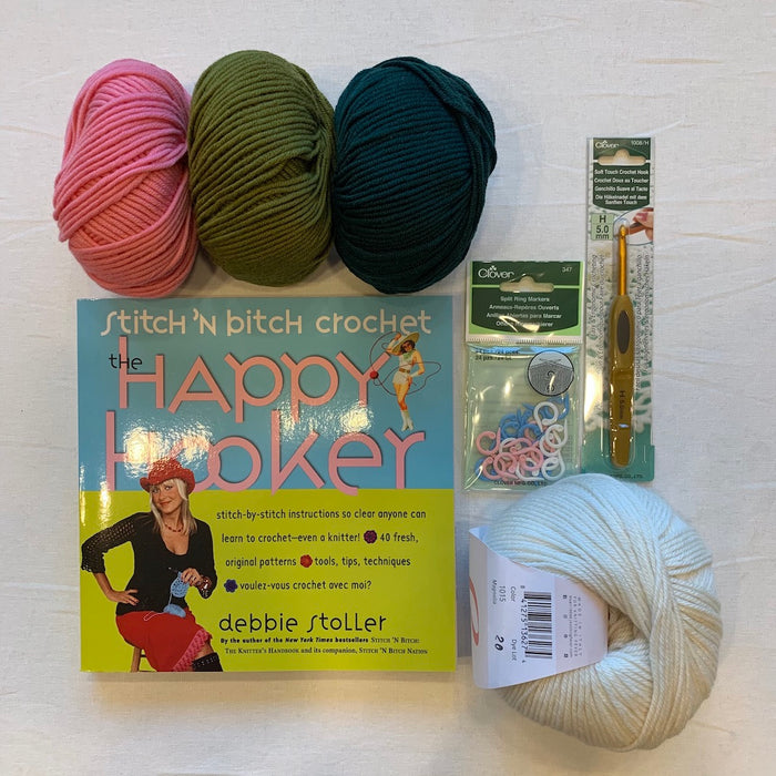 Beginning Crochet Kit (Deluxe) | Ella Rae Cashmereno, Aurora 8 & Crochet Instruction Book
