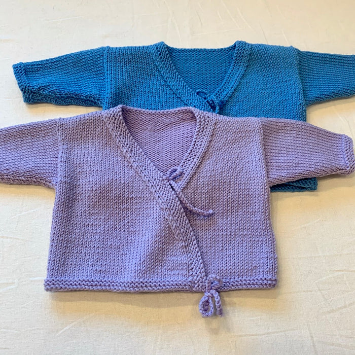 Cadenza Cross-Over Baby Sweater (Karabella version) Knitting Kit | Karabella Aurora 6
