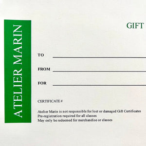 Atelier Marin Gift Certificate for use in San Anselmo, CA