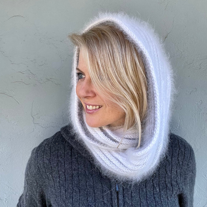 Angora Horizontal Ribbed Cowl (small version) Knitting Kit | Galler Belangor, Artyarns Merino Cloud, & Knitting Pattern (#316)