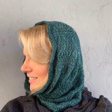 Load image into Gallery viewer, Vertical Feather & Fan Cowl Knitting Kit | Hand Maiden Camelspin & Knitting Pattern (#192F)