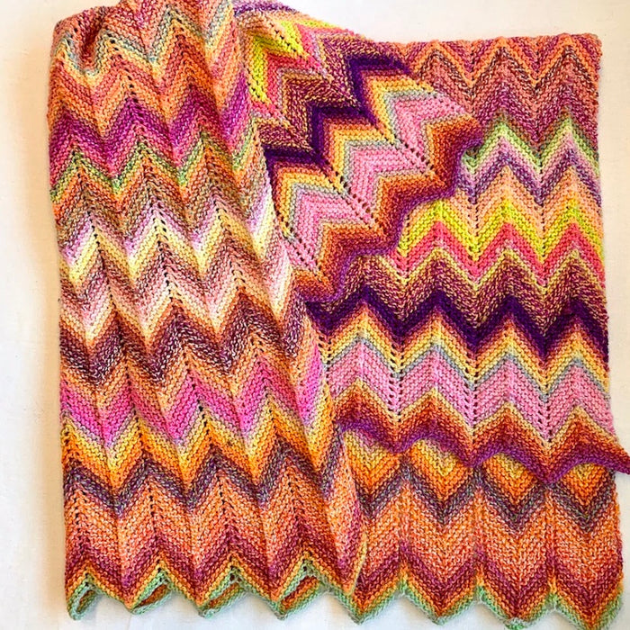 Knit Chevron Baby Blanket (Entropy version) Knitting Kit | Entropy Superwash Merino DK & Knitting Pattern (#323)