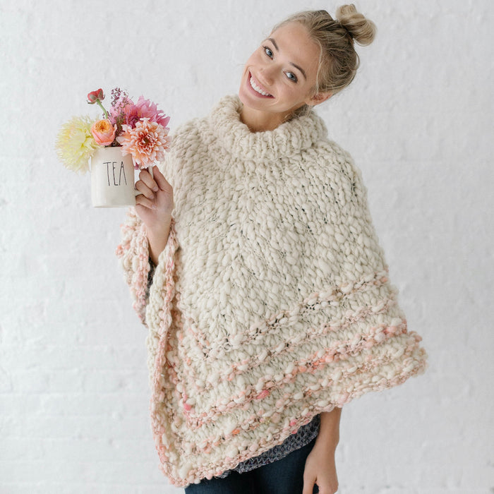 Rustic Handspun Poncho Knitting Kit | Knit Collage Sister, Cast Away & Knitting Pattern