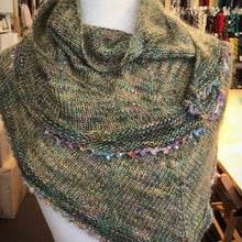 Load image into Gallery viewer, Beaded Picot Edge Shawlette (Pittura version) Knitting Kit | Louisa Harding Pittura, Shibui Silk Cloud, Artyarns Beaded Mohair and Sequins & Knitting Pattern (#289B)