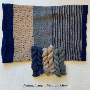 Cashmere Three-Color Patterned Cowl Knitting Kit | Lux Adorna Sport Cashmere & Knitting Pattern (#294)