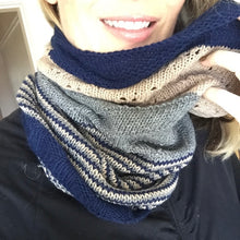 Load image into Gallery viewer, Cashmere Three-Color Patterned Cowl Knitting Kit | Lux Adorna Sport Cashmere & Knitting Pattern (#294)