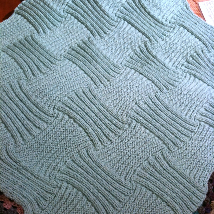 Rib & Garter Ridge Baby Blanket Knitting Kit | Karabella Aurora 8 & Knitting Pattern (#184)