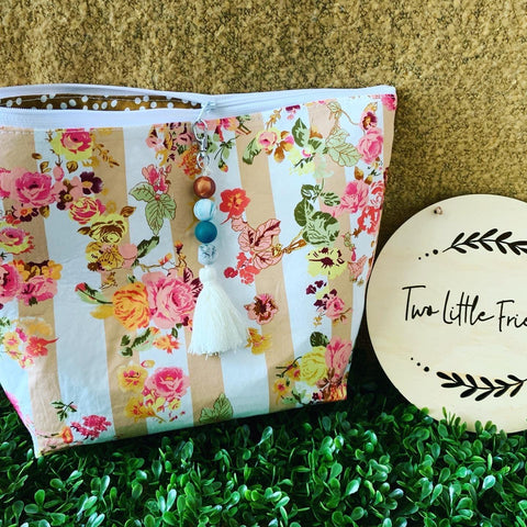 Beige Floral Nappy Clutch