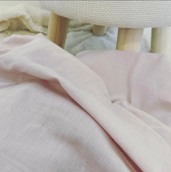 Antique Pink Linen Fitted Cot Sheet