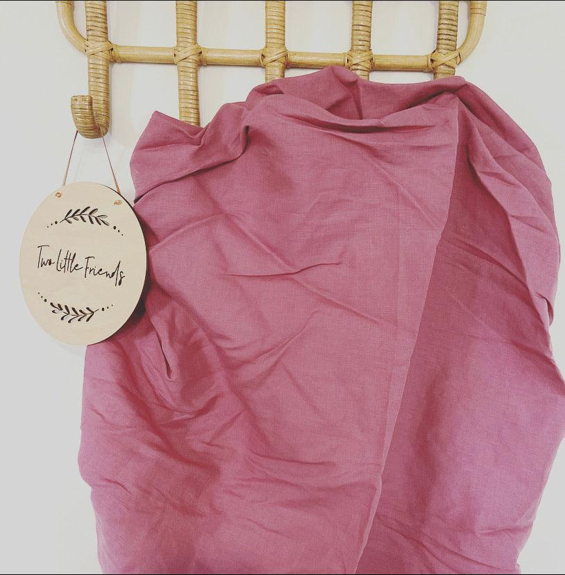 Pink Linen Fitted Cot Sheet
