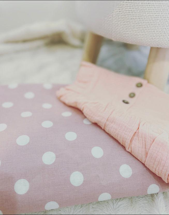 Linen Spot Fitted Cot Sheet