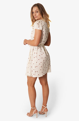 Silk Short Wrap Dress Polka Dot