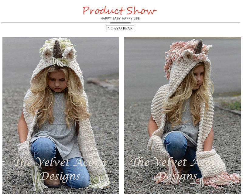 Winter Girls Hat And Scarf Set Knitted Unicorn Hat Hooded Scarf Set ... c2b55be0b53