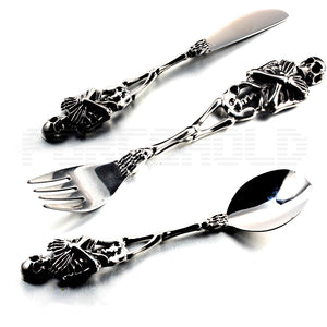 Stainless Steel Skull Skeleton Tableware Fork Knife Spoon Flatware sets