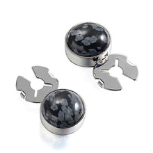Load image into Gallery viewer, Forcehold  Black Snowflake Stone Silver BUTTON COVER for Tuxedo Business Formal Shirts 17.6MM one pair