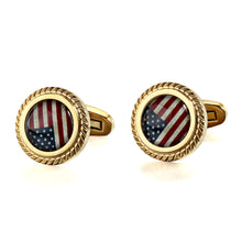 Load image into Gallery viewer, American Flag Stone Jagged Edge Casting Serrated  stainless steel 316L 18K Gold Plating cufflinks for Tuxedo Business Formal Shirts one pairs