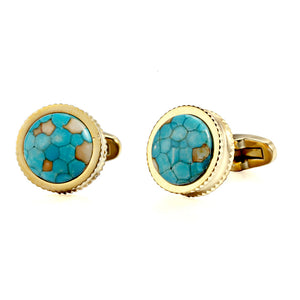Blue Dinosaur Stone High Heel Double Serrated Edges Stainless steel 316L 18K Gold Plating  cufflinks for Tuxedo Business Formal Shirts one pairs