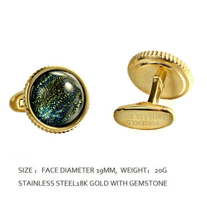 Dinosaur Eye Colored Foil Glass Liuli crystal Casting Serrated  stainless steel 316L cufflinks for Tuxedo Business Formal Shirts one pairs