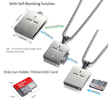 Load image into Gallery viewer, Forcehold TF card micro SD card holder self-bombing slot cross pandent stainless steel fashion necklace gold