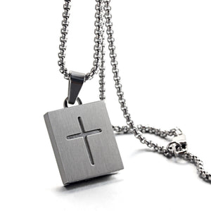 Forcehold TF card micro SD card holder self-bombing slot cross pandent stainless steel fashion necklace