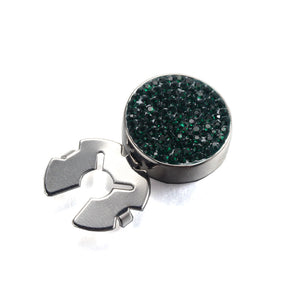 Forcehold starry sky full dark green zircon silver BUTTON COVER for Tuxedo Business Formal Shirts 17.5MM one pair