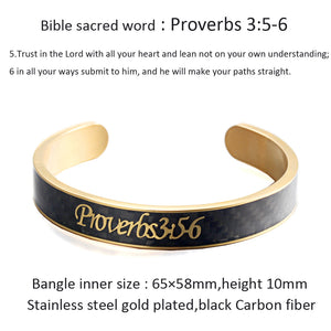 Holy Bible Sacred Word Proverbs 3:5-6 Black Carbon Fiber Gold Stainless Steel Cuff Bangle Open Bracelet