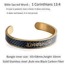 Load image into Gallery viewer, Holy Bible Sacred Word 1 Corinthians 13:4 Blue Mix Black Carbon Fiber Gold Stainless Steel Cuff Bangle Open Bracelet
