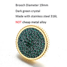 Load image into Gallery viewer, Starry Sky Full Dark Green Crystal Gold Stainless Steel Lady Women Brooch
