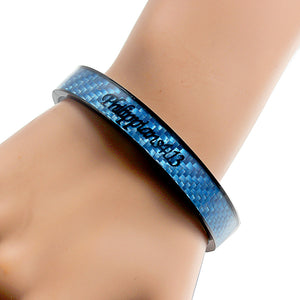Holy Bible Sacred Word Philippians 4:13 Blue Carbon Fiber Black Stainless Steel Cuff Bangle Open Bracelet