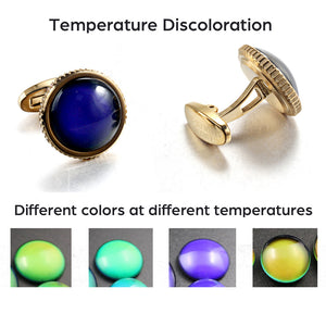 Natural Temperature sensitive discolored stone Casting Serrated  stainless steel 316L cufflinks for Tuxedo Business Formal Shirts one pairs