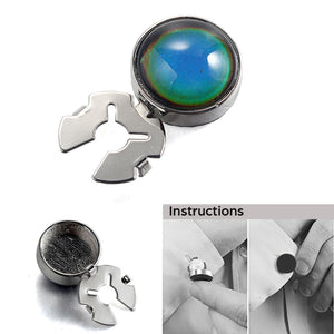 Temperature sensitive discolored stone silver BUTTON COVER for Tuxedo Business Formal Shirts 17.6MM one pair