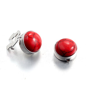 Natural Red Turquoise Silver BUTTON COVER for Tuxedo Business Formal Shirts 17.6MM one pair