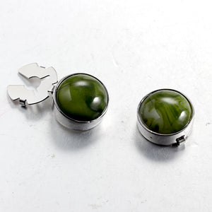 Green Algae Stone Silver BUTTON COVER for Tuxedo Business Formal Shirts 17.6MM one pair