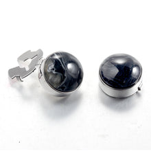Load image into Gallery viewer, Forcehold Cosmic Nebula Black Stone Silver BUTTON COVER for Tuxedo Business Formal Shirts 17.6MM one pair