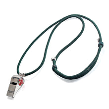 Charger l'image dans la galerie, British UK National Flag Football Whistle Help Whistle Rhodium Plated  Adjustable Length Dark Green Rope Necklace