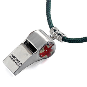 British UK National Flag Football Whistle Help Whistle Rhodium Plated  Adjustable Length Dark Green Rope Necklace