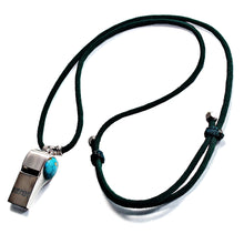Load image into Gallery viewer, Blue Dinosaur Stone Football Whistle Help Whistle Rhodium Plated   Adjustable Length Dark Green Rope Necklace