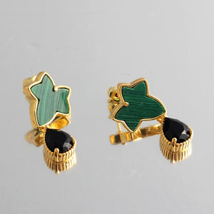 Purple Amethyst Casting Serrated  Stainless Steel 316L Cufflinks For Tuxedo Business Formal Shirts One Pairs