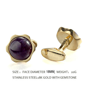 Purple Amethyst stone Sunflower Flower Stainless steel 316L 18K Gold Plating Cufflinks for Tuxedo Business Formal Shirts one pairs