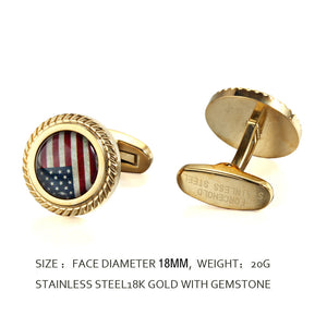 American Flag Stone Jagged Edge Casting Serrated  stainless steel 316L 18K Gold Plating cufflinks for Tuxedo Business Formal Shirts one pairs